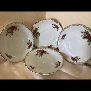 4 HAL-SEY FIFTH vintage floral saucers